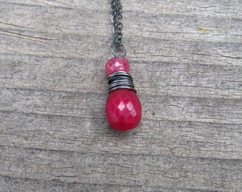 Natural Ruby Gemstone Necklace,  Pink Sapphire,  Wire Wrapped In Sterling Silver,  July Birthstone Jewelry, Ruby Pendant