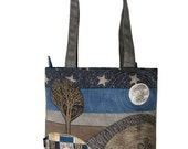Appliqued Landscape Bag, Unique Zippered Bag, Blue Mountains, OOAK, Handmade, Ready to Ship,