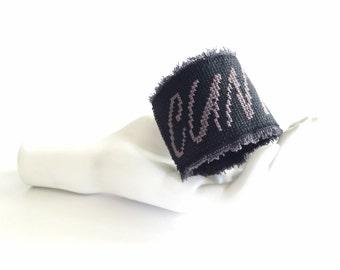 c*nt cuss word bracelet | cross stitch cuff bracelet | funny bracelet | black cuff | curse word jewelry | punk rock cuff | emo jewelry