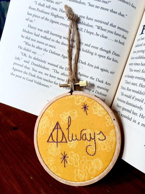 "Mini Harry Potter Hand-embroidered Hoop- ""Always"""