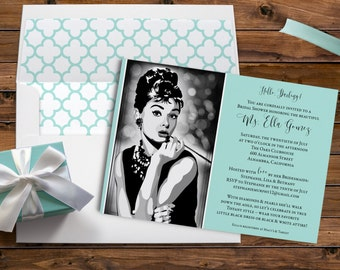 Breakfast, at Tiffany's, Audrey Hepburn, Elegant Invitation, Tiffany Quatrefoil, Bridal Shower Brunch, Printable Digital, Printed Invites
