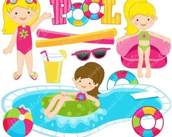 Girls Pool Party Cute Clipart, Pool Party Clip Art, Summer Party, Swimming Pool Graphics, Swimming Girls, Splash, Summer Swimming Clipart