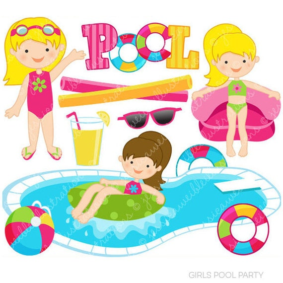 Girls pool party cute clipart pool party clip art summer for Cute pool pictures