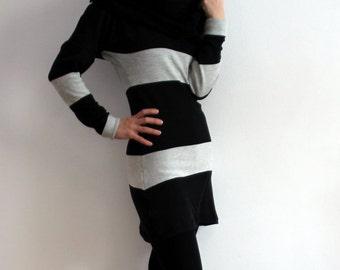 Not So Black And White Merino Wool Jersey Tunic XS (S) LAST ONE