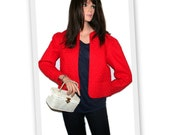 1970s Lanz Originals Red Quilted Open Front Bolero Style Vintage Jacket