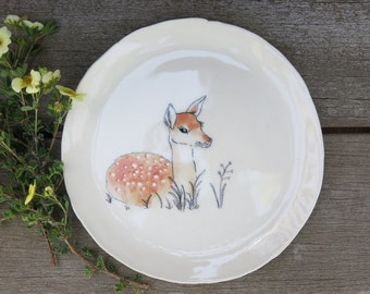 Ceramic Woodland Deer Fawn Hand Drawn Fine Art Plate One of a Kind Gift Idea Home Decor, Handmade Artisan Pottery by Licia Lucas Pfadt