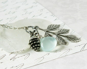 Gemstone, Silver Leaf & Pinecone Necklace Leaf Pendant Aqua Mint Chalcedony Teardrop Wire Wrap Briolette Tree Branch Turquoise Gift for Her