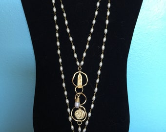 Gold Vermeil and Pearl ZEN Necklace