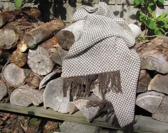 Mens Womens Alpaca Scarf, Artisan Hand Woven Cream White Walnut Brown Alpaca Scarf, Rustic Accessory, Winter Urban Country Woodland Fashion