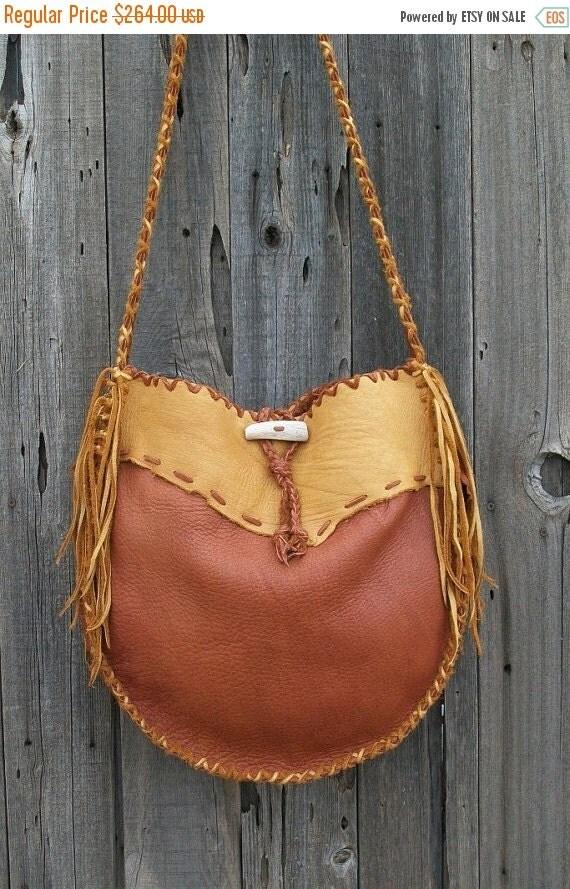 ON SALE Leather handbag ,   Buckskin drum bag ,  Gypsy tote ,  Large shoulder bag
