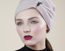 Slouchy Wool Hat, Ecru Winter Beanie, Fashion Turban Style Casual Hat