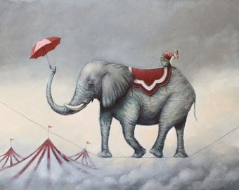 Up in the Air. Signed Art Print of an Original Surreal Oil Painting