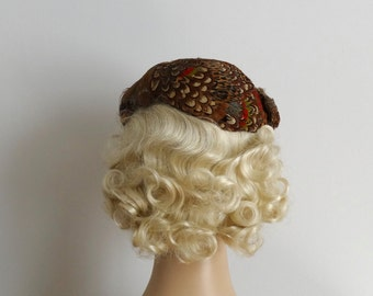Vintage 1950s Hat - 50s Pheasant Feather Hat - The Darla