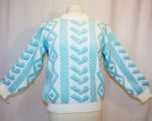 1980's Aqua and White  Silver Sparkle Sweater Medium Vintage REtro 80's Mock Turtleneck Hearts Ugly Party Acrylic Pullover