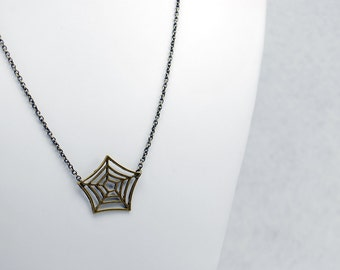Spider Web Necklace in Antique Brass - Halloween Jewelry, October Jewelry, Limited Edition of 6