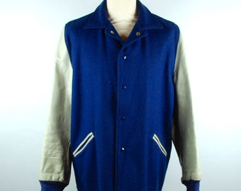 1960's Letterman Jacket, Blue and White, Size 44