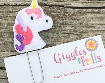 Unicorn Planner Paper Clip, Planner Accessories, Felt Bookmarks, Planner Clips, Organizer Clip, Accessory for Planners, Teacher Gifts