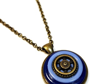 Blue Steampunk Necklace Pendant, Button Necklace,  Repurposed Buttons, Upcycled Jewelry