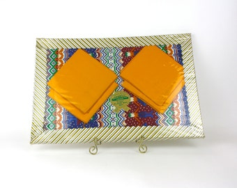 Vintage 70s Placemats NIB 8 piece set Aztec Patter Blues Red Gold Boxed Set by Gloria Gray Never Used Unopened