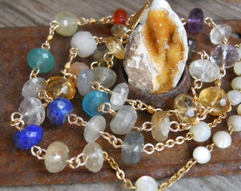 Glory                Ancient Cambrian Shell Gemstone Chain Rosary Necklace