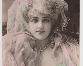 ROMANTIC PORTRAIT BELLE Epoque French Stage Actress Arlette Dorgere in Gorgeous Pink and Green Lace Veil Ethereal Real Photo Tinted Postcard