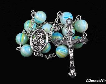 Auto Rosary Pocket Chaplet Green Blue Yellow Swirl Glass Bead 1 Decade Silver