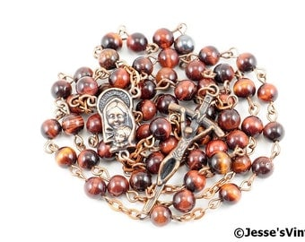 Catholic Rosary Beads Rustic Red Tigereye Natural Stone Copper Traditional Five Decade Small Beads