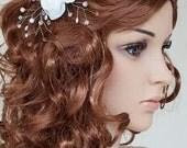 Flower Bridal Headpiece Beaded Hair Comb Pearls Crystals Rhinestone Wedding Accessory Handmade
