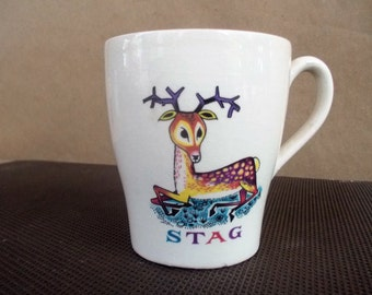 Vintage English Ceramic Childrens Cup with Cartoon STAG