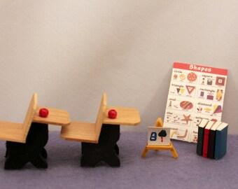 Miniature School Desks Dollhouse School Nursery Decor Books Shape Chart Art Easel