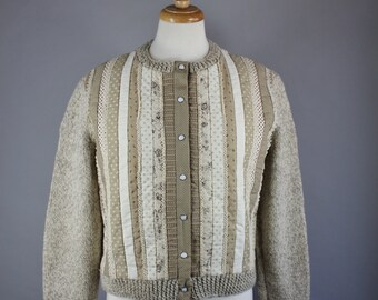 Vintage 80s Women's Oatmeal Beige Cotton Quilted Wool Handknit Fall Winter Cardigan Sweater