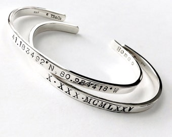 Sterling Silver Coordinate Bracelet . Latitude and Longitude Bracelet . .925 Solid Sterling Gift for Wife, Girlfriend