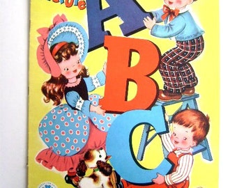ABC Picture Book 1947 Vintage Child's Cloth Book, Baby's Pets, Merrill Company,