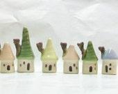 Mini Houses - Pastels - Set of 6 - Handmade, Wheel Thrown --Ready to Ship