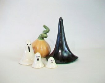 She's Melting -- She's Melting  ---  Witch Hat , 3 Ghosts and a Pumpkin - Decoration, Ring Holder - Ready to Ship Now