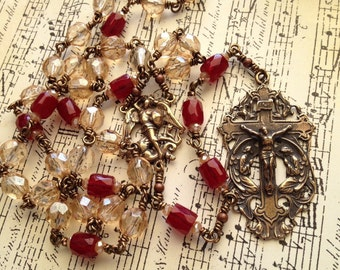 Chaplet of Saint Michael the Archangel - Wrapped Loops & Czech Glass Beads