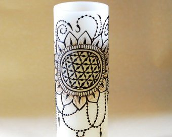 "9"" LED Hennaed Pillar Candle, Seed of Life Motif"