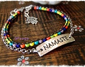 Reserved for Zaibeli. Chain anklet NAMASTE ankle bracelet Colorful Rainbow bead anklet Boho Summer YOGA Festival Message jewelry GPyoga
