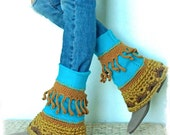 TURQUOISE PIXIE leg warmers Flared Boho sweater Leg Warmer Scalloped Bell Bottoms eco friendly leg wear mustard yellow Womens fashion GPyoga