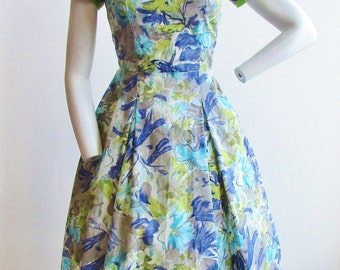 "1950's Floral Print Dress with Grey, Purple and Lime Green  26"" Waist"