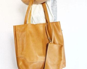 Leather Tote Bag / Handbag / with Samll Pouch - Carmel