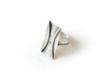 Vintage Modernist Sterling Silver Ring c.1960s