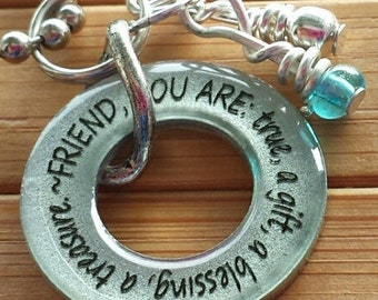 Friend, you are...true, a gift, a treasure, a blessing...13/16 inch silver washer word quote necklace pendant with chain