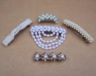 Vintage hair accessories 5 faux pearl effect hair barrette hair slide hair clip hair jewelry hair ornament