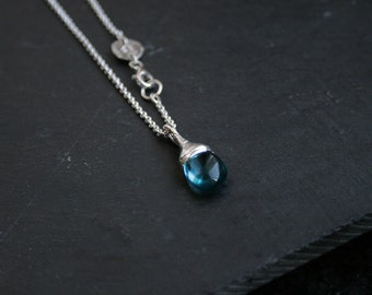 teal quartz drop and sterling silver necklace