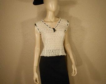 Pure As Snow - Vintage 1940s Ivory Lace Double V Neck/Back Blouse Black Ribbon Trim - 4/6
