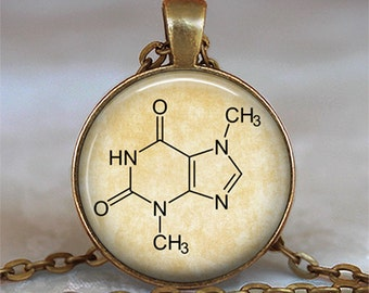 Chocolate molecule necklace, Theobromine pendant chemistry pendant Chocolate lover gift chemistry teacher gift key chain