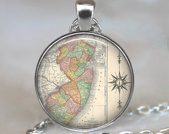 New Jersey map necklace, New Jersey map pendant, New Jersey antique map jewelry, map jewellery, map key chain key fob