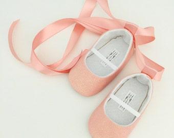 Toddler Girl Shoes Baby Girl Shoes Soft Soled Shoes Wedding Shoes Flower Girl Shoes Peach shoes Blush Shoes Glitter Ballerina Shoe - Eloise