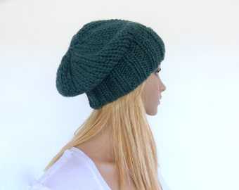 Green knit hat Green hand knitted slouch beanie Green slouch hat Winter hat Deep Green Mens knit hat